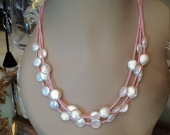 Three strand coral and freshwater pearl necklace