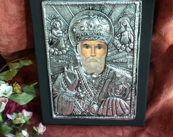 Religious icon made with sterling silver