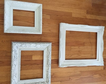 3 vintage framesshabby chic frames white framesornate picture frames frames - Diy Picture Framing