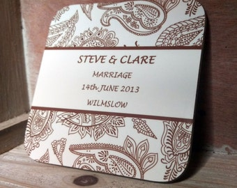 Personalised Paisley Wedding Coasters Set of 4