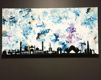 New Delhi Skyline - abstract acrylic palette knifed