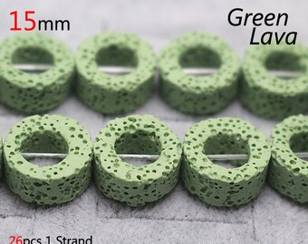 Green lava beads, donut shape 15 inches 1 strand 15mm