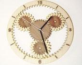 """Wooden wall clock """" GEARS"""""""