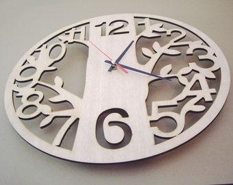 """Wooden wall clock  - """"LITTLE TREE"""""""
