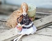 Christmas sale Tilda doll Interior handmade doll Ooak rag doll with gift box gift doll Art cloth Doll