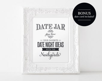 Date Night Jar Sign and Card, Wedding Printable, Date Night Ideas, Wedding Sign, Marriage Advice Cards, PDF Instant Download #BPB152_62