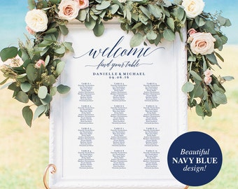 Navy Wedding Seating Chart Sign, Navy Seating Chart Printable, Seating Chart Template, Seating Board, PDF Instant Download #BPB320_52