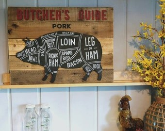 Rustic Butcher's Guide Pork, chalkboard on reclaimed wood, hand painted