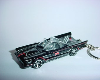 3D 1960's Batmobile custom keychain by Brian Thornton keyring key chain finished in black color trim diecast metal body Batman TV series