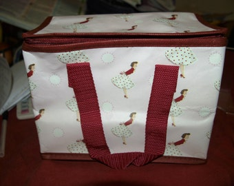 Pink Vintage Lady 1950's Foil Insulated Lunch Bag
