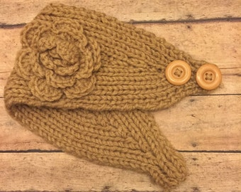 Ear Warmers - Winter headband - crochet ear warmer - Khaki - headwrap - knit ear warmer - Valentines Day gift for Her -