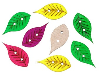 Colorful Wooden Autumn Leaf Design Buttons - Craft, Sewing, Scrapbooking Embellishment, Cute, Baby Shower, Birthday