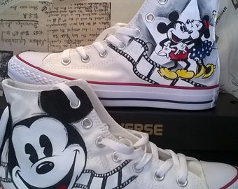 Disney  hand painted shoes, converse hand painted shoes, Mickey Mouse , vintage disney