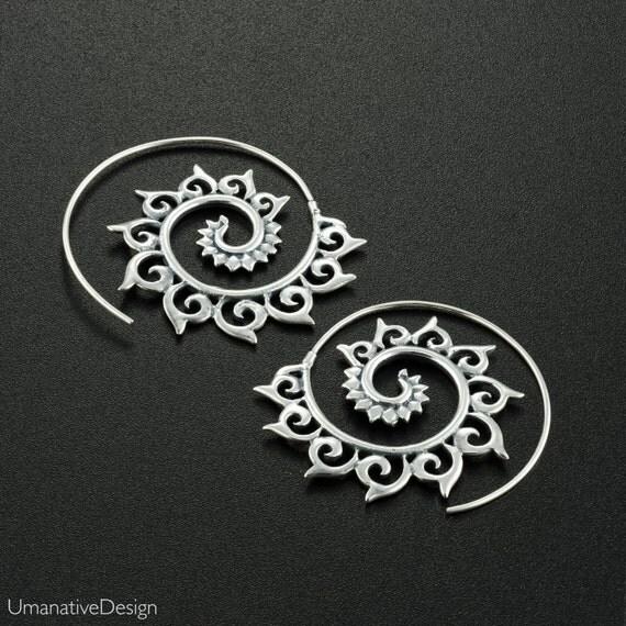 Silver spiral earrings. festival jewelry. large earrings. boho earrings. tribal earrings. burning man jewelry. boho jewelry. coachella.
