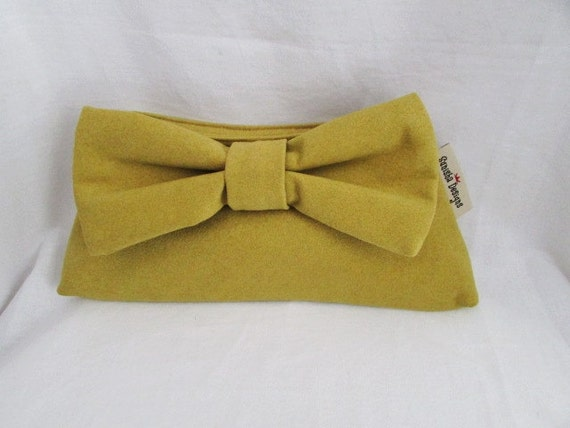 Lime Green Sueded Bowtie Clutch