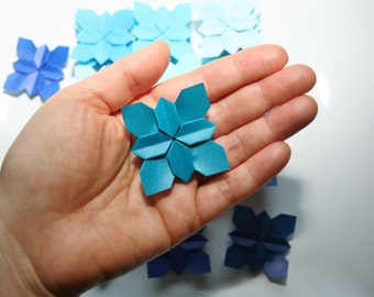 36 Wedding Petals.Origami Flower Hydrangea.Handmade Origami Shades of Blue.Origami Tant. Paper Flower.Paper Petals.Table Party Decor