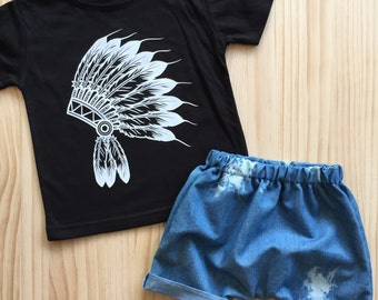 Boy's Headdress t-shirt black