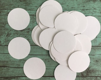 "Circle Die Cut - white paper - 1-1/2"" round - pack of 50 - embellishment, card making, scrapbooking"