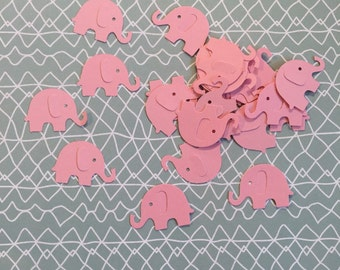 Elephant Die Cut - pink paper - pack of 25 - baby girl, baby shower, congratulations, new baby, invitations, thank yous, scrapbook, cards
