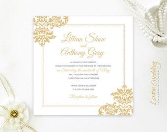 Gold wedding invitations PRINTED | Square wedding invites with damask ornament | Elegant wedding invitations | Evening invitations