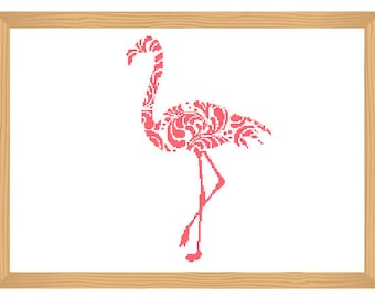 flamingo cross stitch pattern, ornamental, silhouette pattern, flamingo, bird pattern, abstract, bird, modern cross stitch, pdf pattern