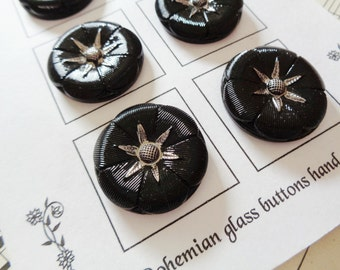 Modern Czech art glass buttons on the card, black glass with hand painted silver detail 1 1/16 inch FREE SHIPPING