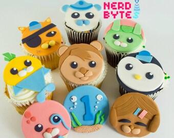 12 Edible Octonauts Fondant Cupcake Toppers