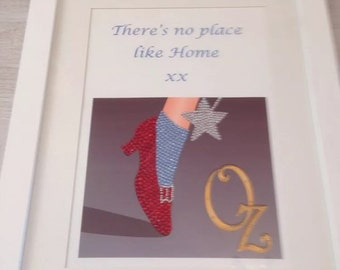 Wizard of oz theres no place like home diamante ruby slipper framed picture bespoke  custom made can be personalised gift for her home decor