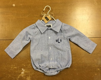 Monogrammed baby boy chambray button up onesie