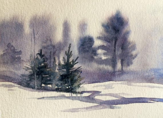 Misty pines, Misty trees, Snow painting, winter landscape, Misty landscape. Watercolor trees, Scandanavia, Sweden, forest,
