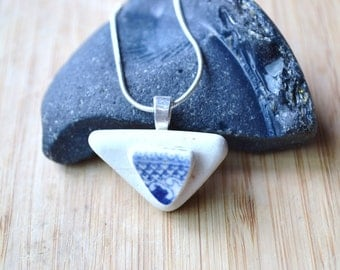 Blue and White Beach Pottery Triangle Necklace with Silver Plated Chain