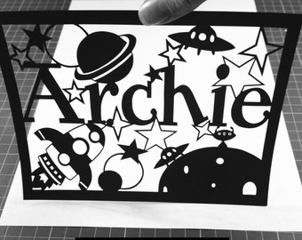 Space Themed - Personalised Paper Cutting Template - Personal and Commercial Use