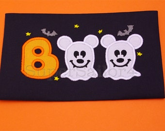 Boo applique design, Halloween applique design, Mickey boo applique design, Mickey applique design