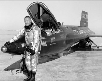 24x36 Poster . Dryden Pilot Neil Armstrong Next To The X-15 Ship 1960