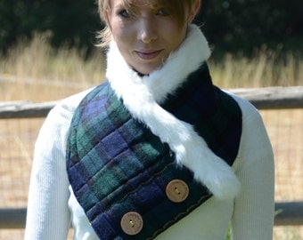 Blackwatch Cowl in Wool and Genuine Rabbit Fur