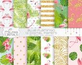 Tropical gold glitter flamingo - 12 digital paper pack - INSTANT DOWNLOAD