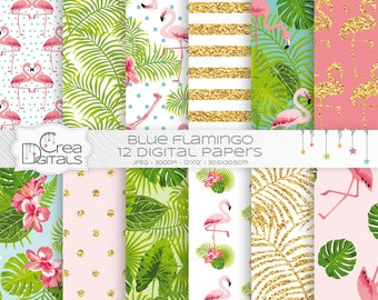 Tropical gold glitter flamingo - 12 digital paper pack - INSTANT DOWNLOAD