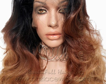 three color ombre lace front wig Sunset ombre  lace wig lace front wig mixed color wig Kardashian lace front wig drag queen lace wig