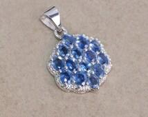 Sapphire 925 sterling silver pendant jewelry - Blue necklace - Sapphire oval pendant - Natural gemstone pendant- Prong set pendant gift idea