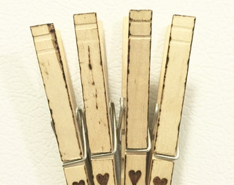 Set of 4--Heart woodburned clothespin magnet