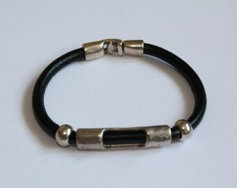 ON SALE Women s black leather bracelet with a tube-spacer decoration