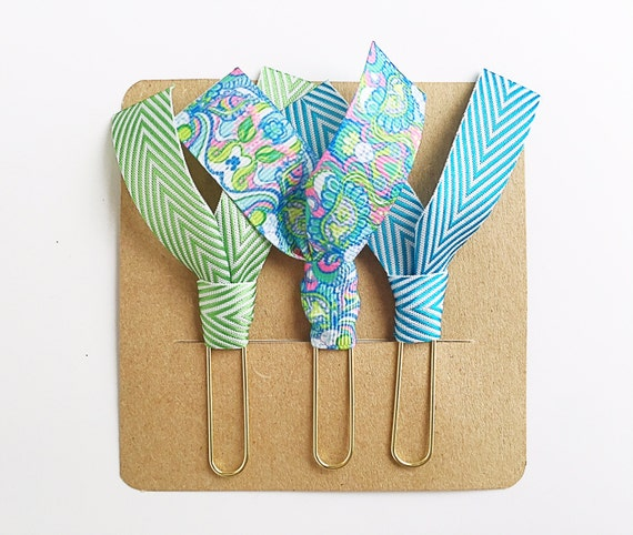 """Lilly Pulitzer """"Conch Republic"""", Green and Blue Chevron Ribbon Paper Clips - Set of Three - Great for Planners, Notebooks, Bookmarks & More!"""