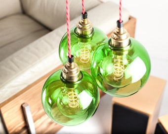Atom Green Glass Triangle Light Kit