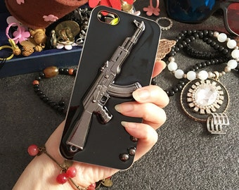 Bling Punk Personality Weapons Firearms Acrylic Sparkly Fashion Pistol Rubber Silicone Cover Case for Various Mobile Phones