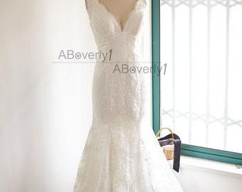 V Neckline Mermaid Lace Wedding Dress Deep V Back Bridal Gown