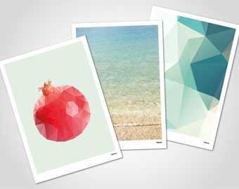 TURQUOISE card SET - 3 x post cards with envelopes, modern greeting card, beach, sea, holiday, triangle, gift, birthday, pomegranate