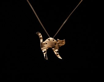 Recycled cymbal cat pendant