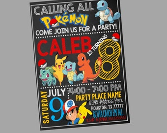 Pokemon Invitations, Chalkboard Pokemon Invitation, Pokemon Party, Pokemon go birthday, Pokemon Invite