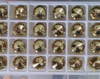 Sew on Rhinestone Glass Rivoli 1122 14mm Crystal Color Colorado Topaz 5 Pcs