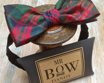 Dapper Bow Tie in Scottish Tartan ' Mac Donald' in 100% silk with satin adjustable neck fitting available in over 50 colours and patterns